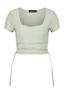 Sage Ruched side square neck crop top