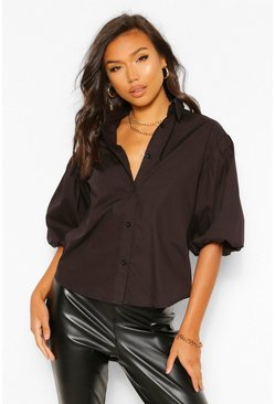 Black PUFF SLEEVE BOXY SHIRT