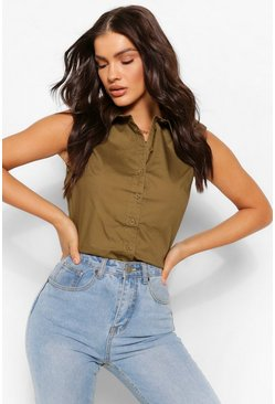 Olive green PUFF SLEEVE BOXY SHIRT
