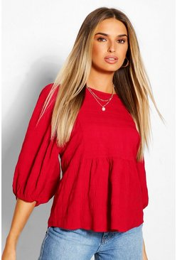 Berry red Puff Sleeve Peplum Top