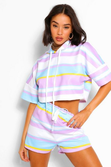 Lilac purple Striped Cropped Hoodie & Shorts Set