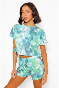 Green Tie Dye Shorts & Tee Set