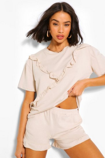Stone beige Ruffle Top & Shorts Set