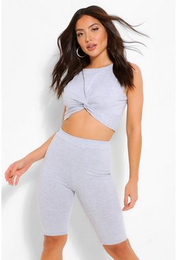 Grey Twist Front Crop Top & Cycle Shorts