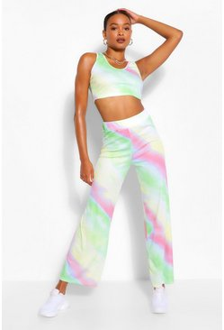 Green Tie Dye Crop & Wide Leg Trouser Set