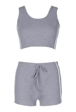 Grey Side Stripe Crop & Shorts Set