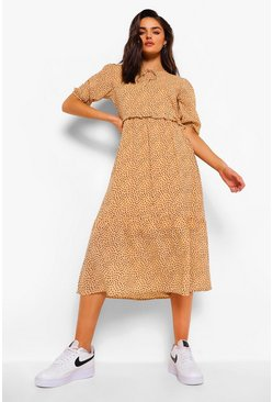 Yellow Polka Dot Tie Neck Puff Sleeve Midi Dress