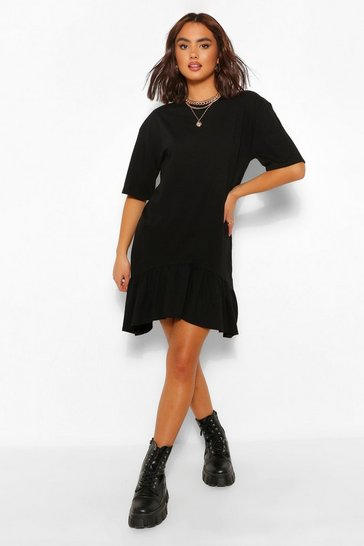 Black Frill Hem Asymmetric Hem T-Shirt Dress