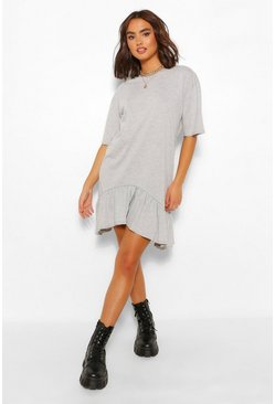 Grey marl grey Frill Hem Asymmetric Hem T-Shirt Dress