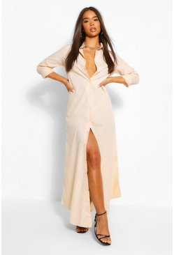 Stone beige Oversized Maxi Shirt Dress