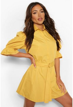 Mustard yellow Puff Sleeve Belted Shirt Dress