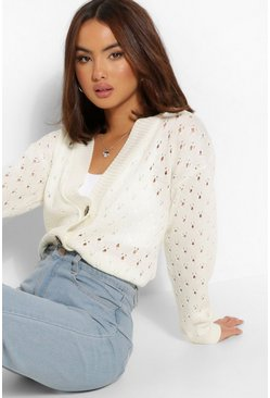Cream white Pointelle Crop Cardigan