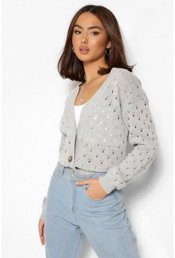 Grey Pointelle Crop Cardigan