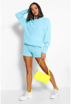 Aqua Knitted Shorts Co-ord