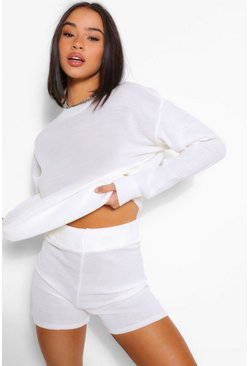 Ivory white Knitted Shorts Co-ord