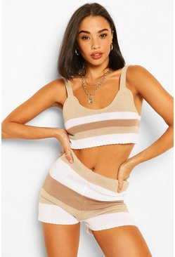 Stone beige Tonal Stripe Knitted Crop Top