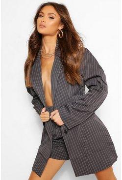 Charcoal grey Pinstripe Puff Sleeve Blazer