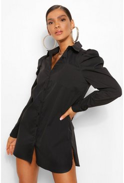 Black Cotton Mix Puff Sleeve Shirt Dress