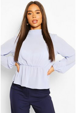 White Woven High Neck Peplum Blouse