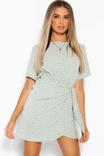 Sage Micro Polka Dot Wrap Shirt Dress