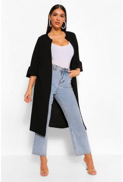 Black Collarless Ruffle Sleve Duster