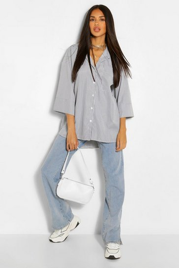 Black Stripe Cotton Mix Oversized Pocket Shirt