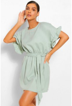 Sage green Frill Sleeve Belted Shift Dress