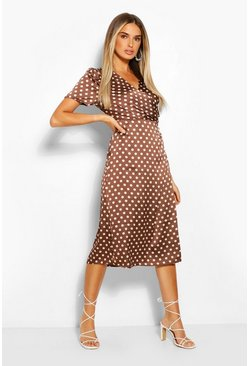 Brown Polka Dot Wrap Midi Tea Dress