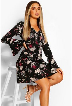 Floral Long Sleeve Skater Dress, Black