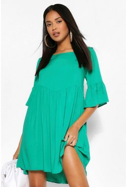 Green Scoop Neck Frill Cuff Smock Dress