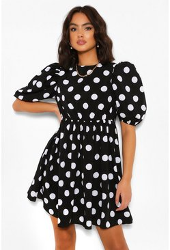 Black Polka Dot Puff Sleeve Smock Dress