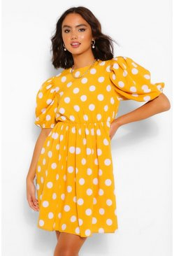 Mustard yellow Polka Dot Puff Sleeve Smock Dress