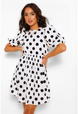 White Polka Dot Puff Sleeve Smock Dress