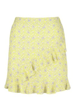 Yellow Paisley Print Ruffle Wrap Mini Skirt