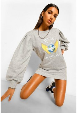 Grey Puff Sleeve Graphic Sweatshirt Dress