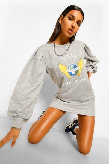 Grey Puff Sleeve Graphic Sweat Dress