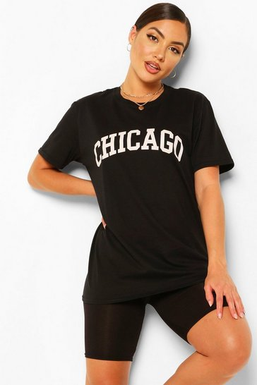 Black Chicago Slogan Oversized T-Shirt