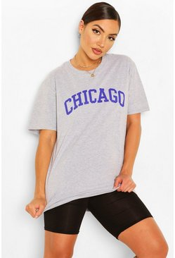 Grey marl Chicago Slogan Oversized T-Shirt