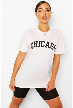White Chicago Slogan Oversized T-Shirt