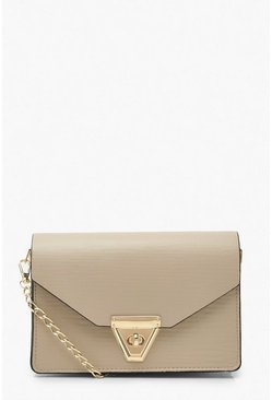 Beige Envelope Cross Body Bag and Chain