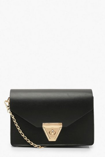 Black Envelope Cross Body Bag and Chain
