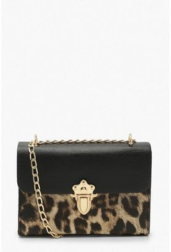 Brown Leopard Pu Push Lock Detail Cross Body Bag