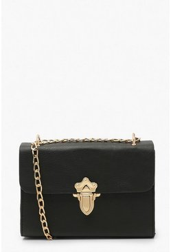 Black Smooth Pu Push Lock Detail Cross Body Bag