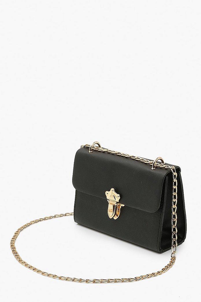 Smooth Pu Push Lock Detail Cross Body Bag | boohoo