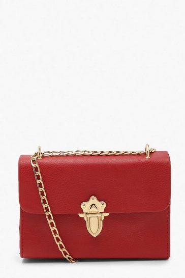Red Smooth Pu Push Lock Detail Cross Body Bag