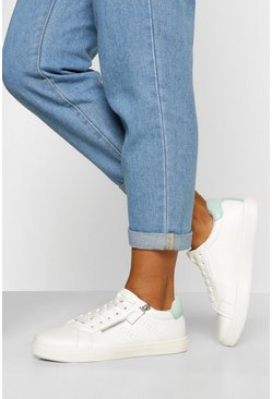 Blue Wide Fit Zip Side Basic Lace Up Trainers
