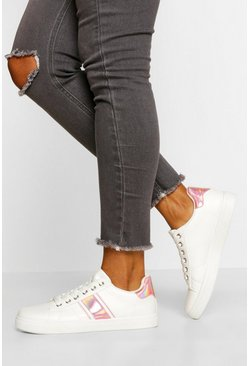 Pink Side Stripe Basic Lace Up Trainers