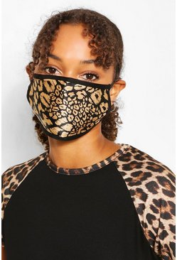 Black Mixed Print Fashion Face Mask 5 Pack
