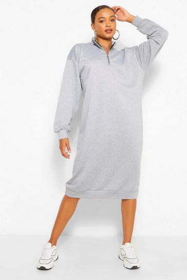 Grey Oversized Zip Midi Sweatshirt Dress