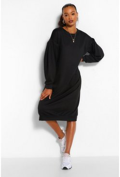 Black Oversized Pleated Sleeve Midi Sweater Dress